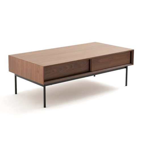 table basse style annees 50 rectangulaire mid century modern porte coulissante