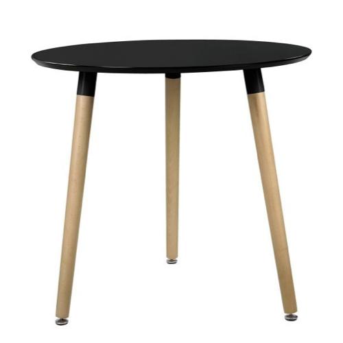 table repas 2 personne pas cher style scandinave noir et bois ronde 3 pieds