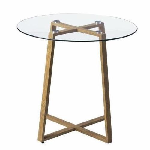 table repas 2 personne pas cher piètement bois déco plateau verre rond