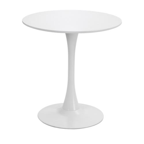 table repas 2 personne pas cher style tulipe piètement central ronde blanche