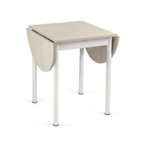 table repas 2 personne pas cher ronde et pliante bois et blanc