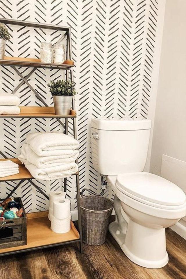 toilette papier peint noir et blanc moderne motif chevron