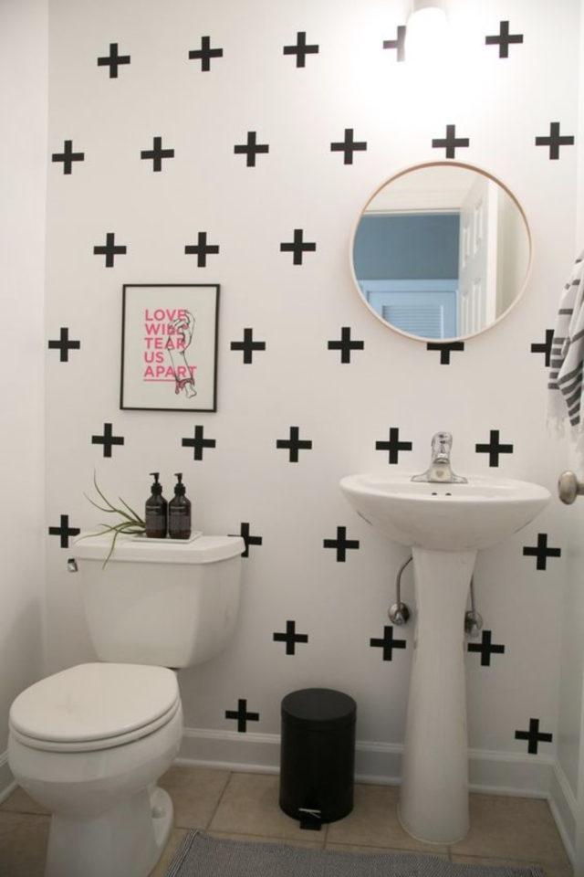 toilette papier peint noir et blanc moderne motif croix