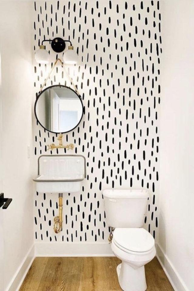 toilette papier peint noir et blanc moderne trait pinceau irrégulier
