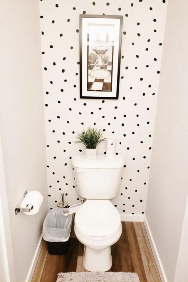 toilette papier peint noir et blanc moderne petit pois