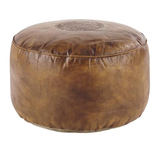 accessoire decoration masculine chambre pouf en cuir rond effet robuste nature homme