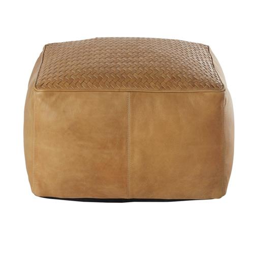 accessoire decoration masculine chambre pouf carré en cuir camel style homme naturel sobre