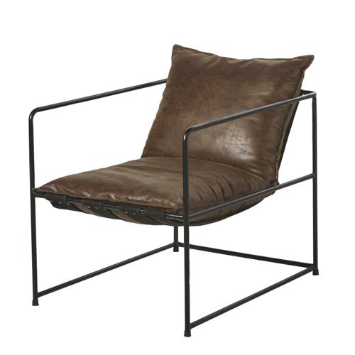 accessoire decoration masculine chambre fauteuil en cuir métal et marron élégant sobre design