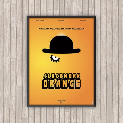affiche film decoration rock orange mecanique minimalisme chapeau jaune contraste