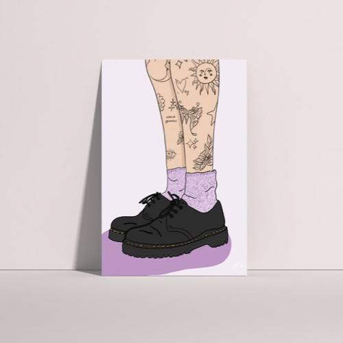 affiche poster culture rock decalee illustration doc martens tatouage mollet chaussette