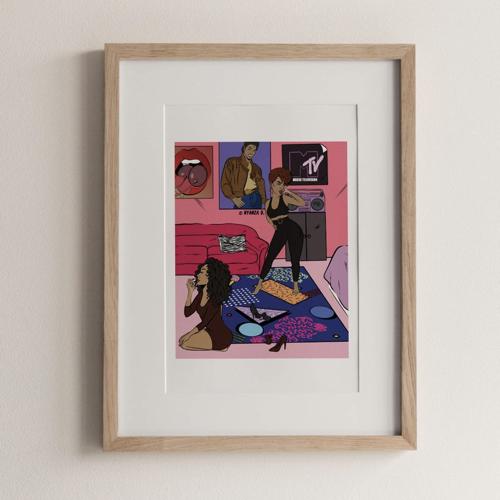 affiche poster culture rock decalee illustration années 90 MTV