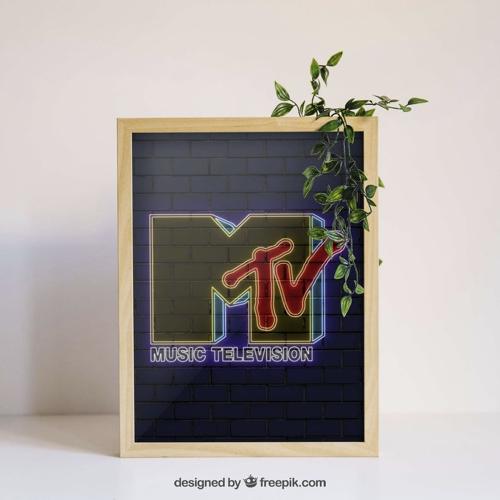 affiche poster culture rock decalee MTV logo fond noir