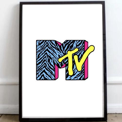 affiche poster culture rock decalee affoche MTV années 90 fond blanc