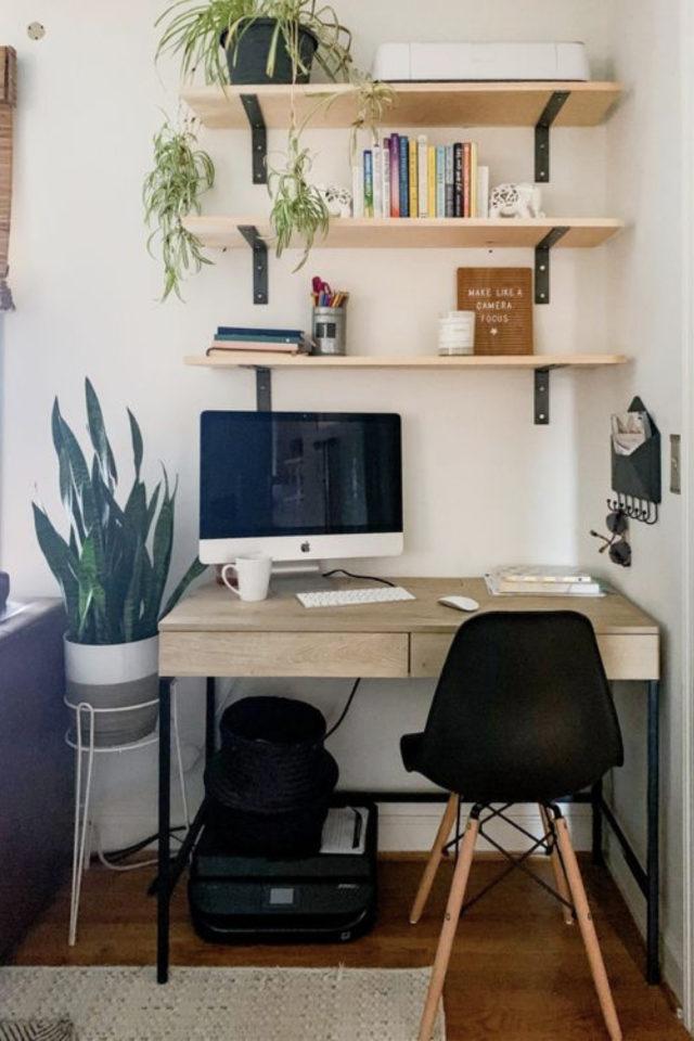 bien chez soi teletravail bureau salon moderne bois simple etagere peu encombrant
