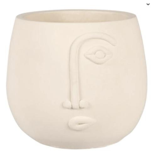 cache pot plante bureau motif visage style moderne tendance couleur blanc crème