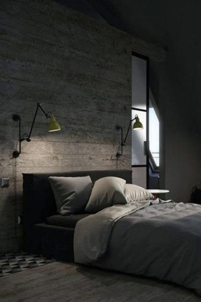 chambre a coucher style masculin exemple élégante simple sobre mur en pierre applique murale lampe de chevet