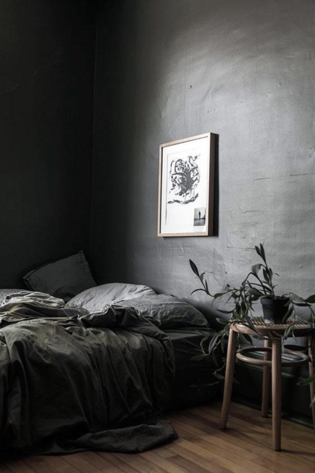 chambre a coucher style masculin exemple béton ciré effet minimaliste épuré gris tabouret table de chevet simplicité