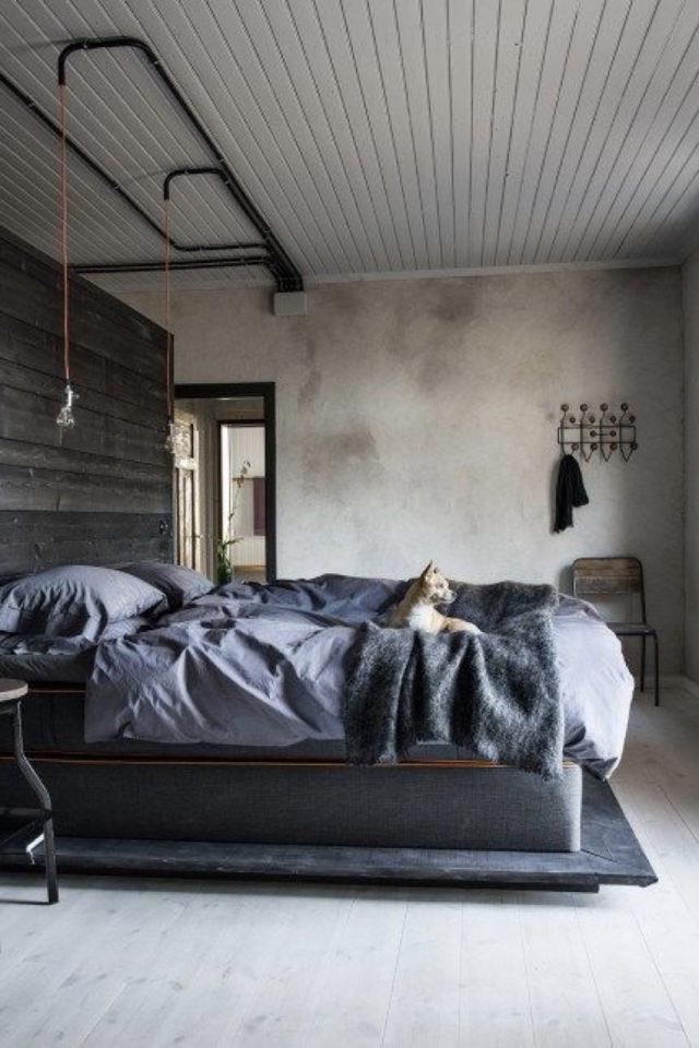 chambre a coucher style masculin exemple minimalisme wabi sabi béton enduit ciré sobre brut industriel minimal épuré