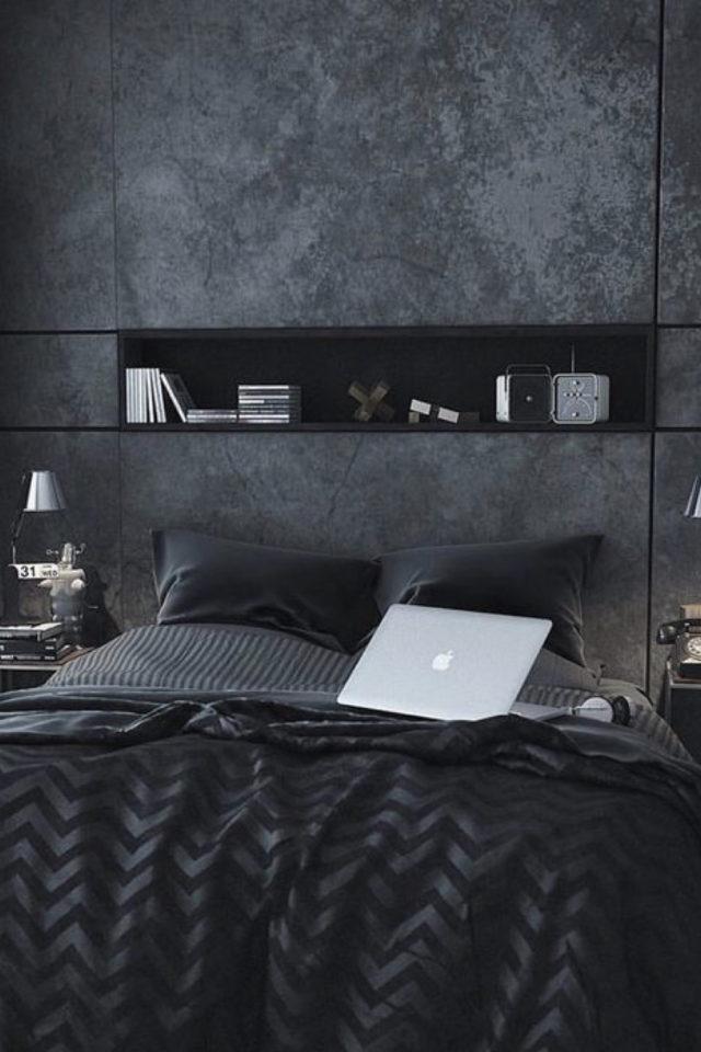 chambre a coucher style masculin exemple niche au dessus du lit revêtement effet métal béton ciré parure de lit sombre gris anthracite noir