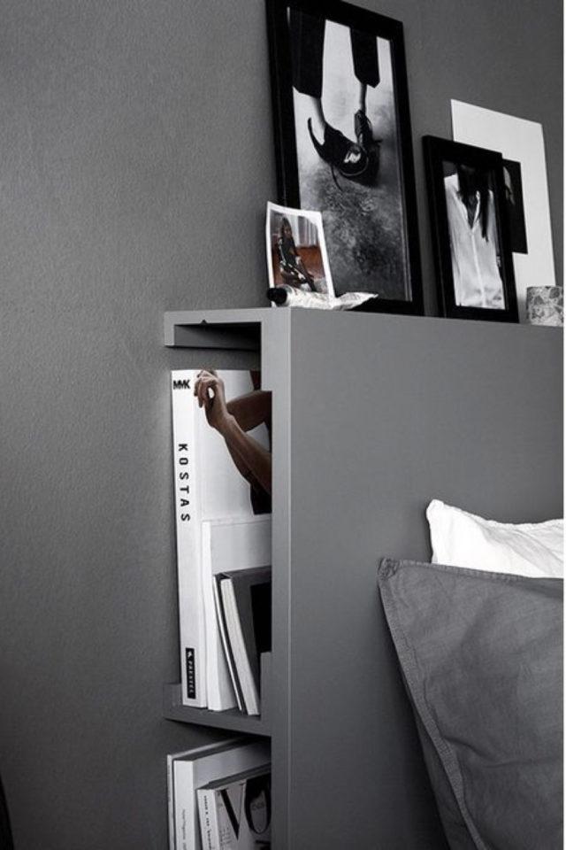 chambre a coucher style masculin exemple rangement dans tête de lit gris pratique fonctionnelle gain de place