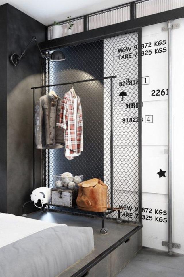 chambre a coucher style masculin exemple penderie rangement vêtement minimalisme industriel homme sobre
