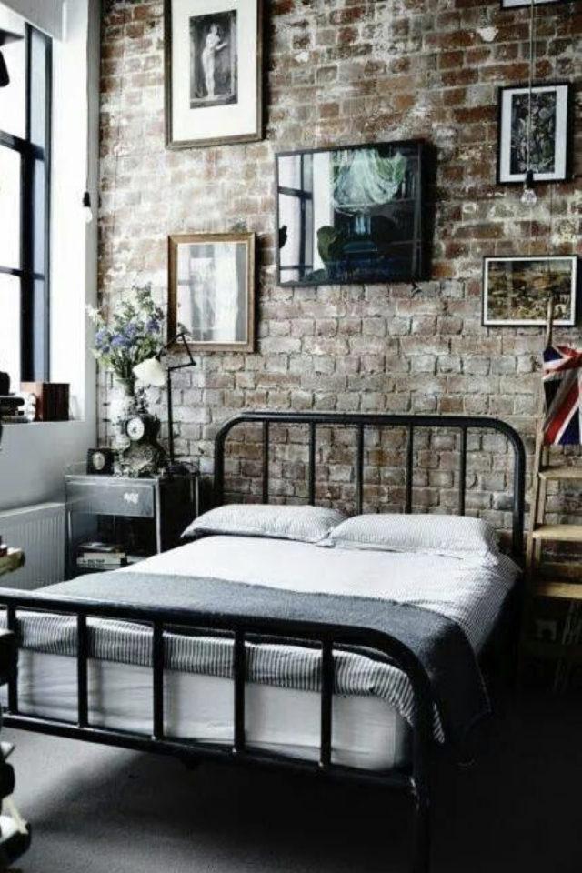 chambre a coucher style masculin exemple style industriel mur en brique lit métal noir moderne et vintage
