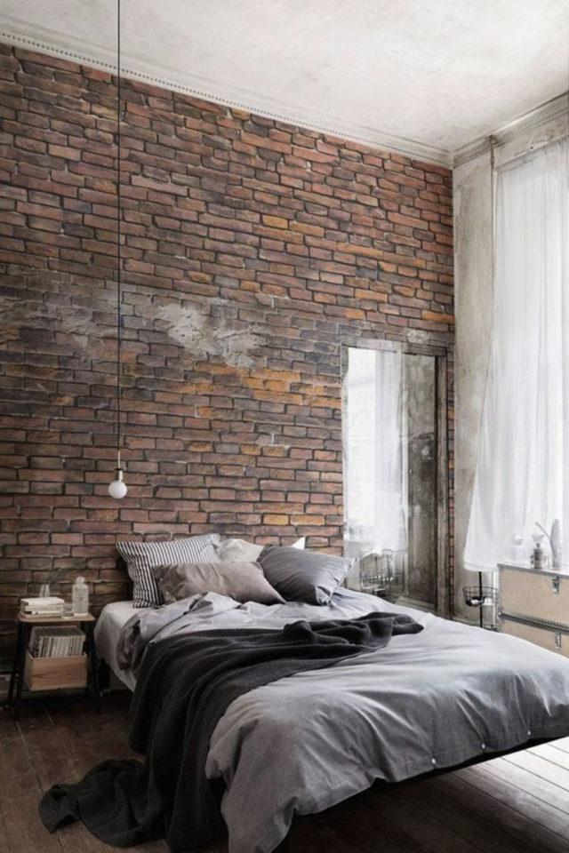 chambre a coucher style masculin exemple mur accent brique simplicité industriel