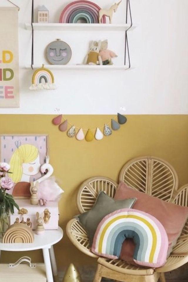 chambre enfant jaune exemple soubassement moutarde safran mobilier kid rotin
