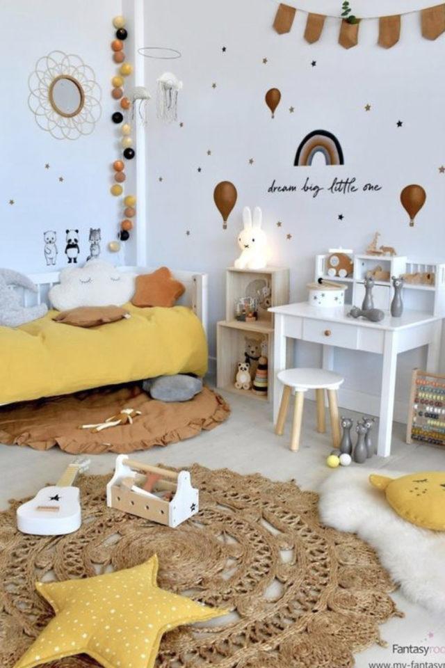 chambre enfant jaune exemple blanc nature textile
