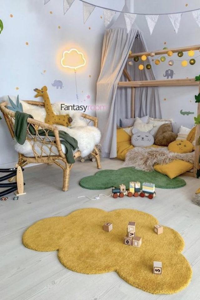 chambre enfant jaune exemple tapis et détails textiles jaune