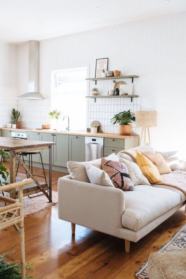 cuisine ouverte lumineuse exemple salon moderne mobilier vert bois nature calme