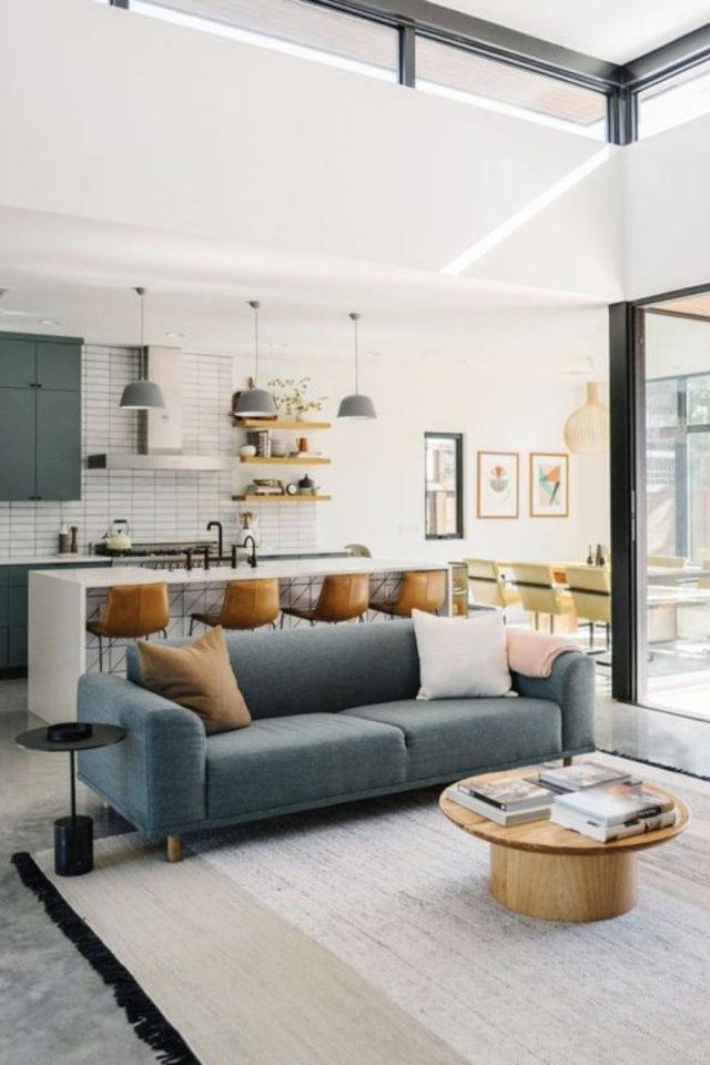 cuisine ouverte lumineuse exemple salon séjour ilot central