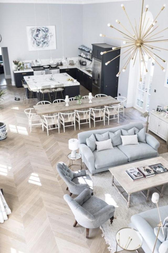 cuisine ouverte lumineuse exemple grand espace de vie salon salle ) manger séjour