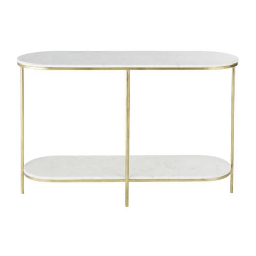 deco et meuble entree elegante console raffinée et feminine laiton marbre