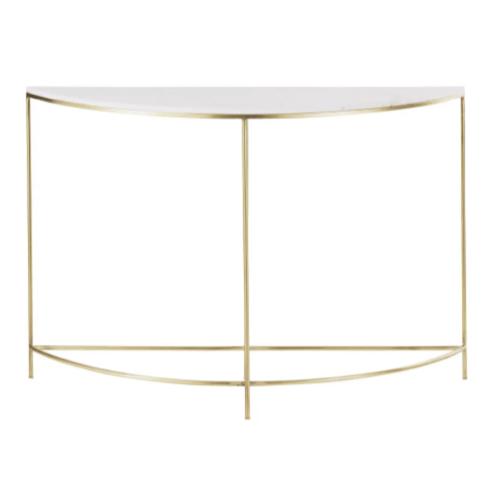 deco et meuble entree elegante console arrondie demi cercle laiton et marbre