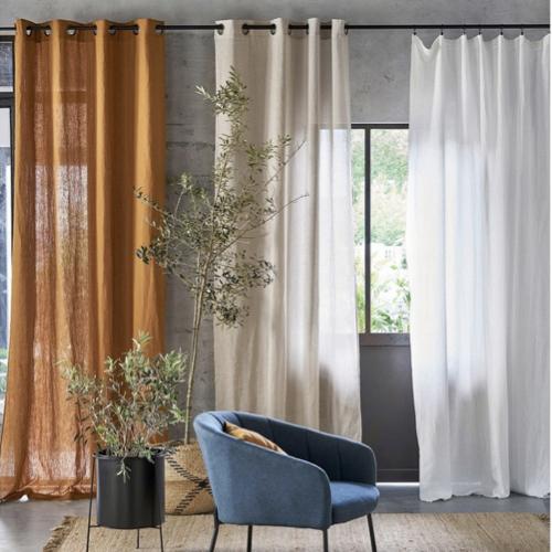 deco textile lin lave tendance rideau voilage panneau couleur naturelle
