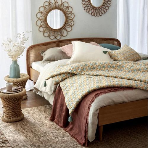 deco textile lin lave tendance dessus de lit décor chambre naturelle et chaleureuse