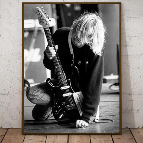 decoration affiche poster musique rock photo kurt cobain noir et blanc guitare