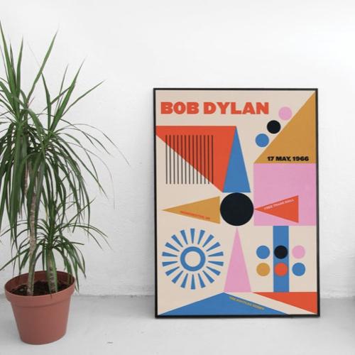 decoration affiche poster musique rock bob dylan couleur géométrique