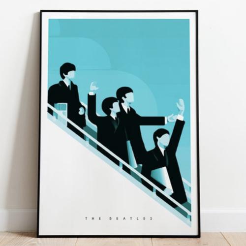 decoration affiche poster musique rock illustration Beattles avion fond bleu