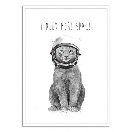 decoration decale affiche alternative poster chat de l'espace illustration noir et blanc