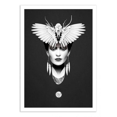 decoration decale affiche alternative poster frida khalo noir et blanc
