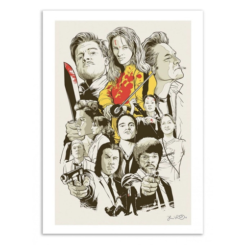decoration decale affiche alternative poster illustration personnages film Tarantino