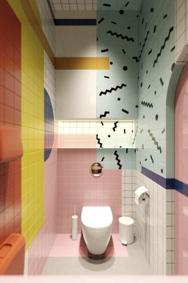 decoration interieure couleur vive exemple salle de bain Memphis style rose vert jaune
