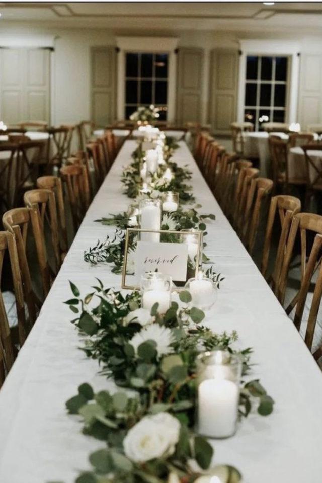 decoration mariage centre table naturel elegant chemin de table bougie eucalyptus