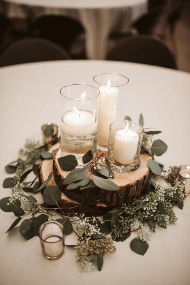 decoration mariage centre table naturel elegant rondin de bois bougies plantes