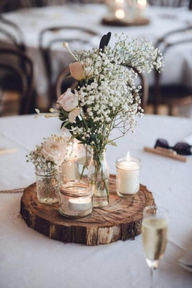 decoration mariage centre table naturel elegant rondin petit bouquet bougies blanches