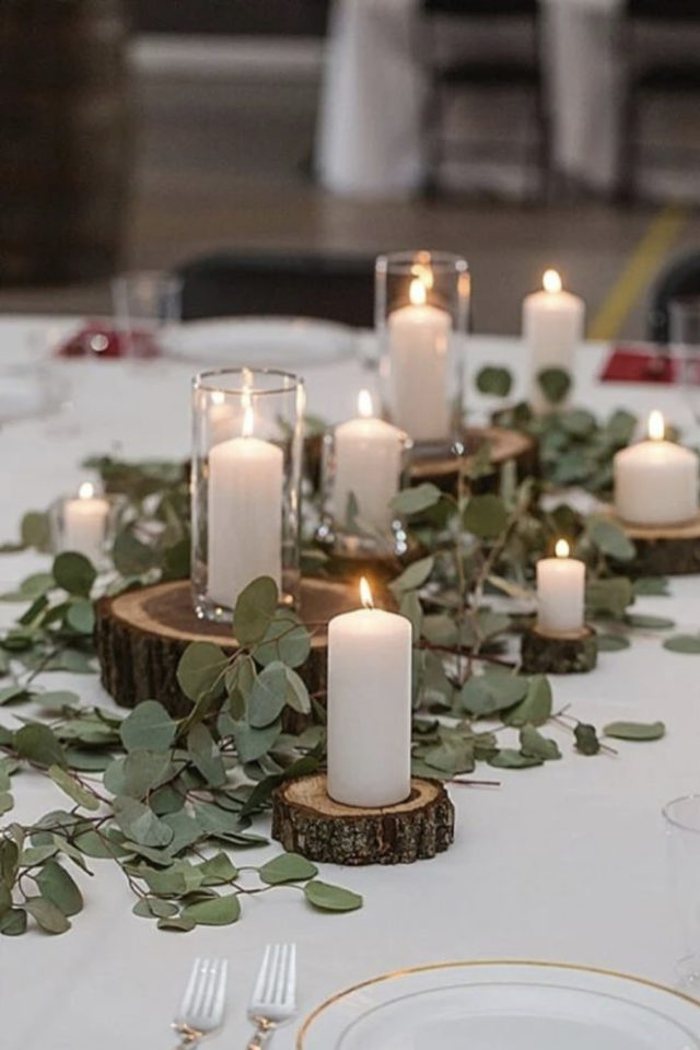 decoration mariage centre table naturel elegant eucalyptus rondin bougies blanches simple