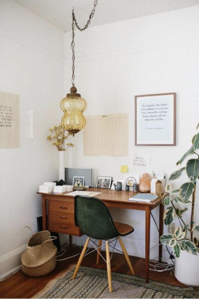 espace bureau salon exemple mid century modern plante séparation