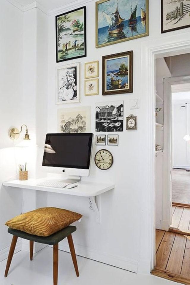espace bureau salon exemple tablette murale peinture blanche ton sur ton